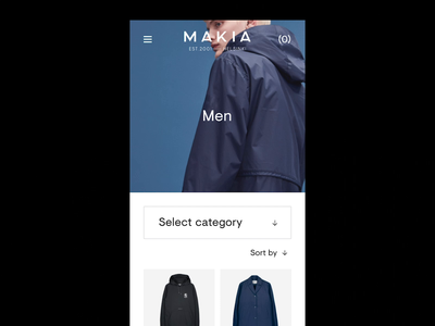 Makia Mobile Frontpage + Tap Interaction principleapp principle category hero interaction mobile ecommerce