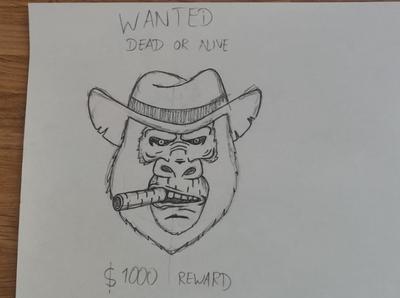 cowboy monkey smoking a cigar with a bounty on it