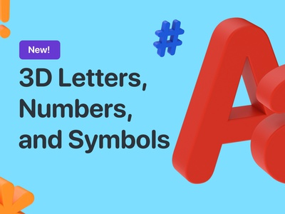 Freebie — 3D Letters, Numbers, and Symbols branding ui illustration design animation sketch cinema4d cinema 4d 3d free freebies freebie