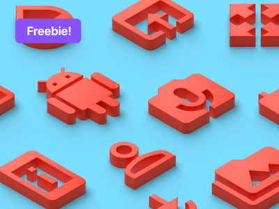 Isometric Clay Icons | New Freebie! free illustration sketch design download ui freebie cinema4d cinema 4d 3d