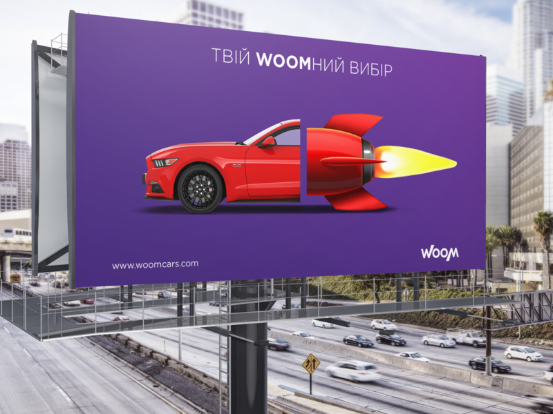 WOOM usa cars key visual key visual keyvisual billboard poster usa car design logotype illustration branding design brand identity vector branding logo