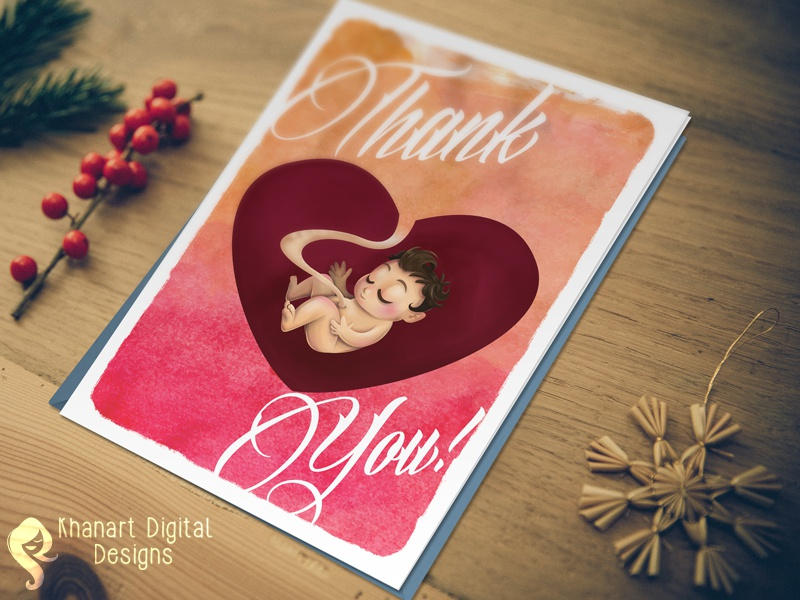 Thank You Card design illustration graphic handmade gift nurses pregnancy baby you thank card greeting