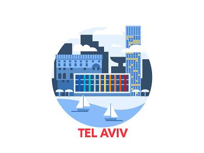 Tel Aviv skylines shades cities skyline buildings building locations custom city israel aviv tel tel aviv monotone blue art sketch design vector illustration