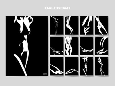 Calendar blackandwhite woman illustration body vectorart digital art illustrations calendar design calendar