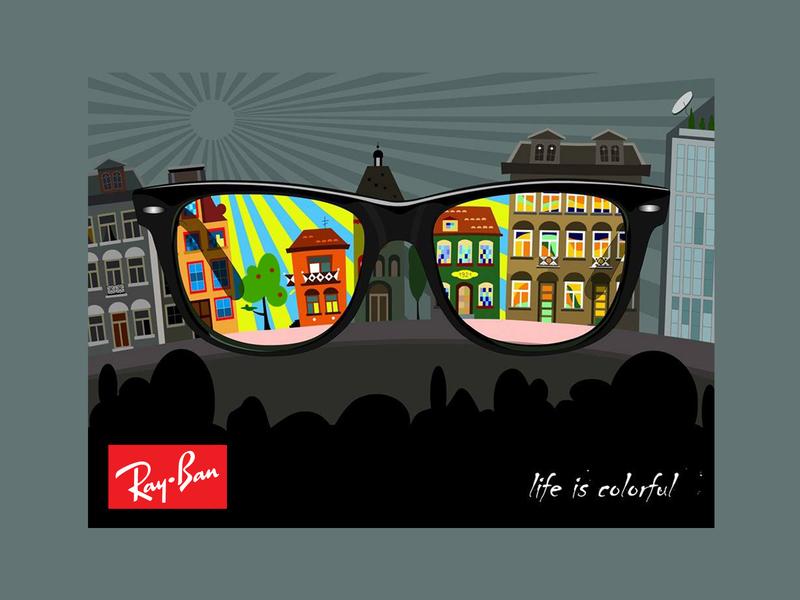 Ray Ban - outdoor advertising subway illustration vectorart billboard design