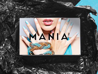 Mania - Business Cards logo branding typography graphic design whimsical brains print design nail art fashion smac mania