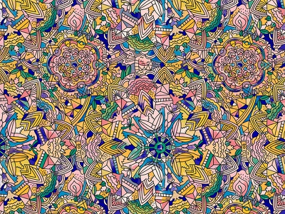 M567 fabric complex seamless infinite fashion pattern art line mandalas illustration ilustracion mandala