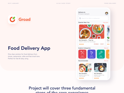 Groad - Food Ordering System - UI/UX Case Study ux ui design