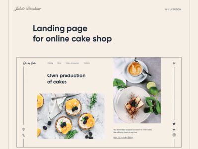 Landing page for online cake shop website logo icon ui ux design