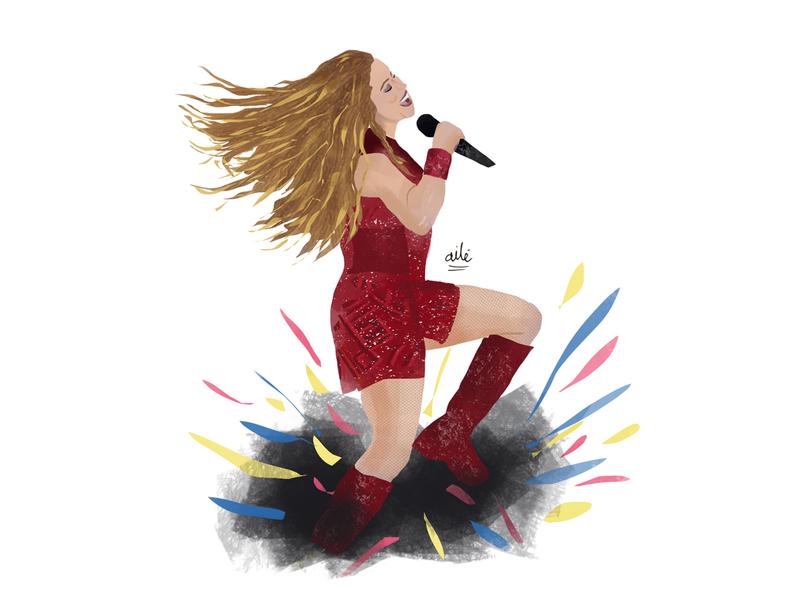 Shakira dándolo todo! woman colombia illustration digital digital illustration design illustration illustrator dancing champeta singer super bowl shakira