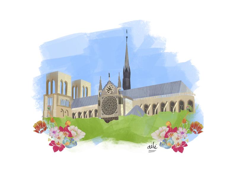 Notre Dame illustrator illustration digital digital illustration design illustration church france paris notre dame