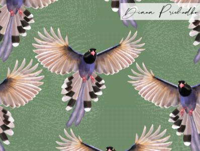 Taiwan Blue Magpie flying bird bird purple illustration photoshop repeating pattern bird pattern bird illustration repeat pattern