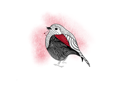 Red Robin pattern berries christmas bird robin