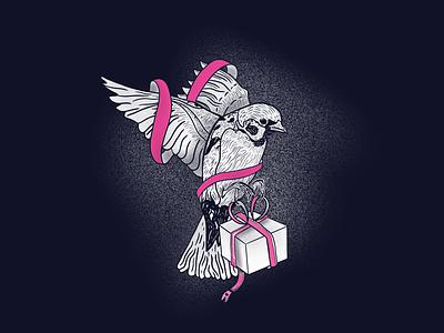 The Gift Sparrow ribbon line present sparrow bird