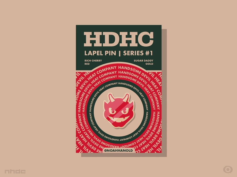 Handsome Devil Heat Co. Lapel Pins + Backing pin packaging design logo design branding
