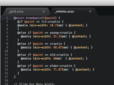 What do you name your media queries? sass sublime text less dev playoff code