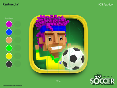 App Icon for TV Sports Soccer App apple tv ios magicavoxel voxel soccer sports icon app icon game