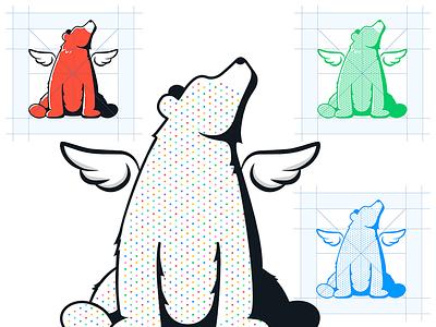 EagleBear Halftone halftone wings bear mark logo mascot identity brand