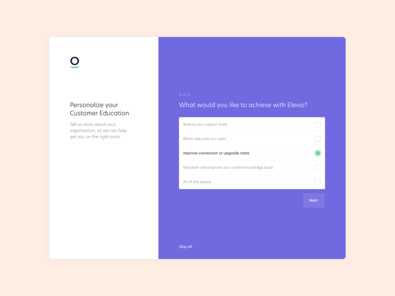 Elevio Onboarding Design app questionnaire achieve goals education customer onboarding elevio