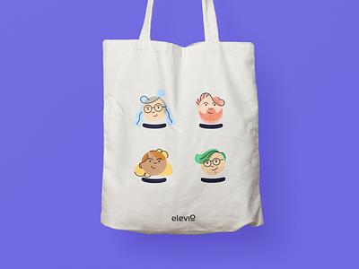Elevio Tote Bag characters personas illustrations avatars mockup concept bag tote elevio