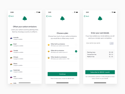 Neutral Offset neutral carbon emissions footprint reforestation plant trees offset subscription profile climate change score