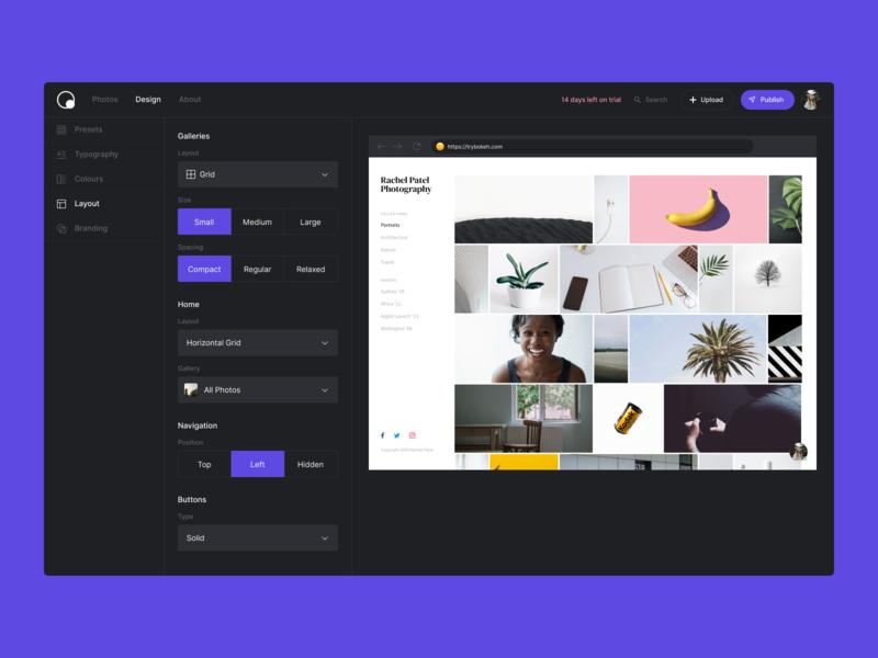 Bokeh Design Studio layout configure settings studio design photos website portfolio photography bokeh app