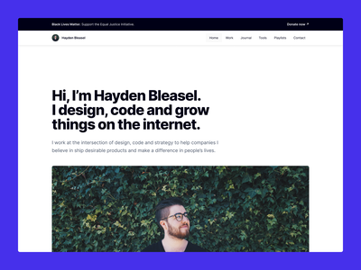2020 Personal Website bleasel hayden brand home about contact playlists apps work portfolio website personal