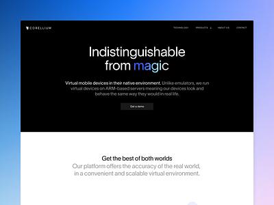 Corellium About virtualization arm magic technology landing page about website corellium