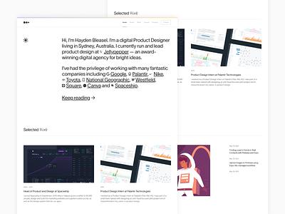 Personal Rebrand, May 2021 product designer projects reboot homepage design home hayden bleasel identity portfolio website branding personal brand