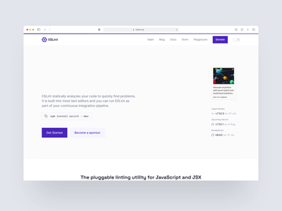ESLint Homepage Animation interaction animation website redesign lint dev code npm package github purple minimal simple eslint home landing page
