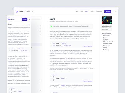 ESLint Docs simple minimal purple github package npm code dev lint redesign docs documentation website eslint