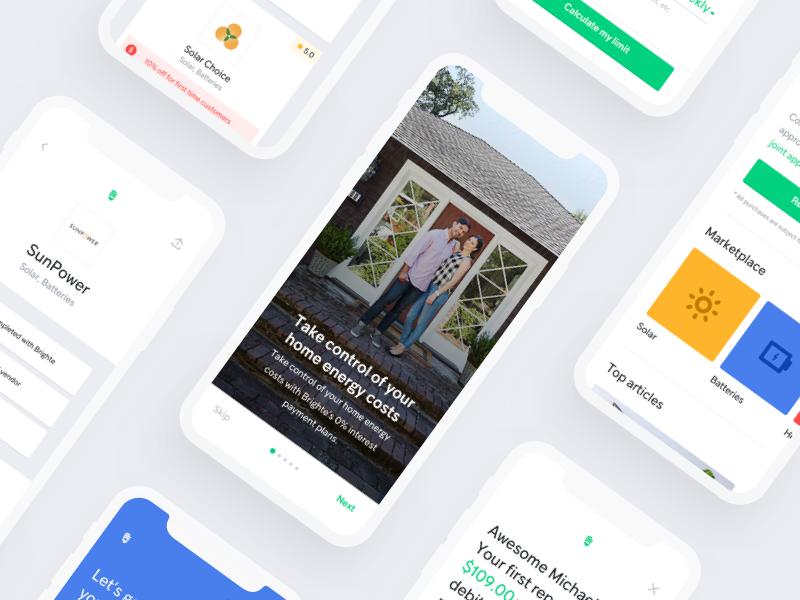 Brighte app designs