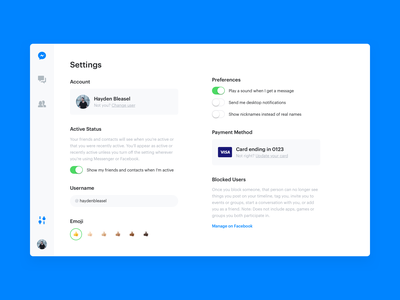 DailyUI 007 - Settings facebook messenger dailyui configure config options option settings page setting settings ui settings dailyui 007