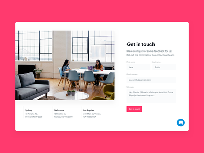 DailyUI 028 - Contact Us message locations get in touch form dailyui 028 dailyui design agency studio contact page contact us contact form contact