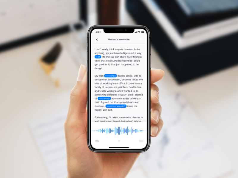 DailyUI 065 - Notes Widget dailyui 065 dailyui transcription transcript voice recognition voice ai recording otter notes widget notes app notes