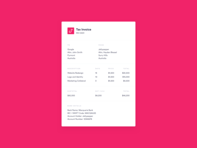 DailyUI 046 - Invoice