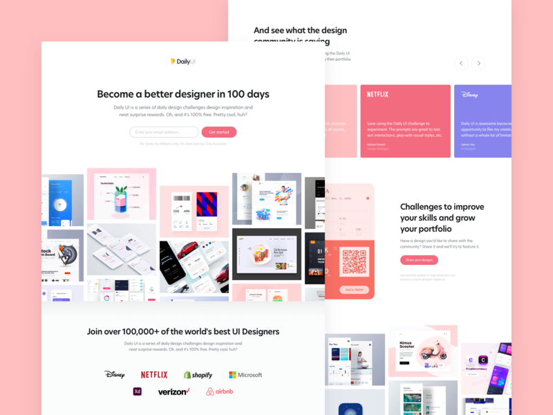 DailyUI 100 - Redesign Daily UI Landing Page home page homepagedesign homepage design homepage home dailyuichallenge dailyui 100 dailyui landing design landing page design landingpage landing page landing
