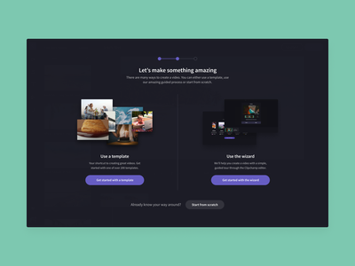 Clipchamp Onboarding signup assets stock template wizard create onboarding online editing video clipchamp