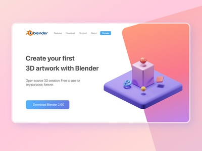 Create your first 3D Artwork 3d blender minimal design landingpage ui 3d