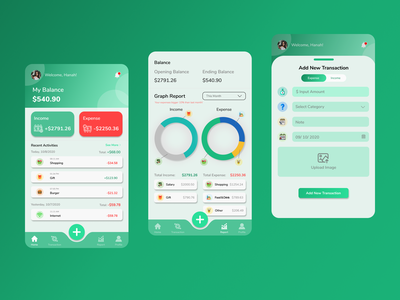 Financial Planning Application font nunito money app colors gradient userinterface art app application mobile icon button finance green design ui