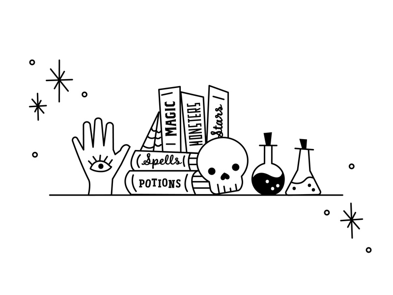 The skull, the Witch and the hand palm readings spellbooks books bookshelf potions witches skull hand