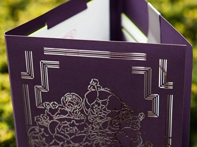 Rockefeller Invitation letterpress laser cut wedding invitation edge painting