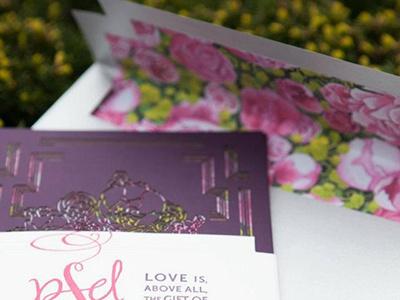 Rockefeller Invitation laser cut wedding invitation edge painting envelope insert illustration letterpress