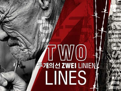 Twolines overlays poster german korean black and white red