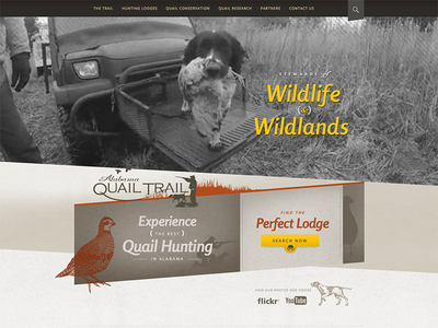 AlabamaQuailTrail.com website hunting wildlife wildlands lodge rental quail dog video