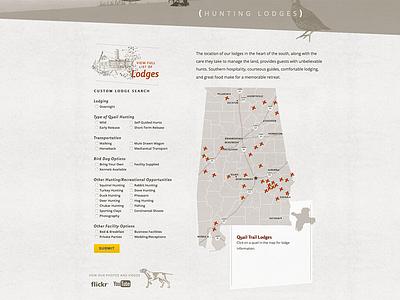 AlabamaQuailTrail.com website hunting wildlife wildlands lodge rental quail dog video custom map search