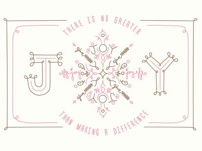 Joy To Life Holiday Donation Card holiday give non-profit snowflake joy gold pink hand drawn illustration