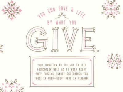 Joy To Life Holiday Donation Card alabama donation holiday give non-profit snowflake joy gold pink hand drawn illustration