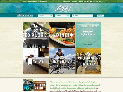 VisitAlbanyGA.com visitor guide travel destination wood grain water color georgia albany website tourism