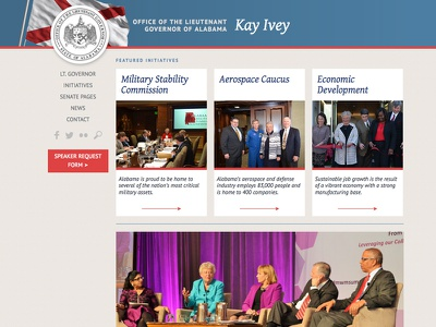 LtGov.Alabama.gov website patriotic red blue flag kay ivey alabama llieutenant governor